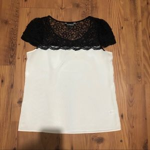 Express Black and White Lace Top Medium